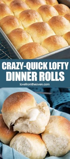 There is nothing quite like buttery, mile-high, fluffy homemade dinner rolls. They are warm, comforting and go with just about any meal. If you've never made homemade rolls, you might be surprised just how quick and easy they can be to make. An hour from now you could be pulling a pan of these irresistible rolls out of your oven! #rolls #dinnerrolls #breadrolls #lftorecipes