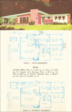 This plan could accommodate a family of four or five fairly easily by converting the multi-use room to a third bedroom. The kitchen in both plans has a snack bar and ample built-in cabinetry. The living room is quite large with big windows for ampl The Plan, How To Plan, Modern Floor Plans, House Floor Plans, Midcentury Modern House Plans, Mid-century Modern, Modern Classic, Mcm House, Porch Plans