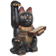 Japanese Big Antique Hand-Painted Wooden 19th Century Fortune Money Cat Signed 1