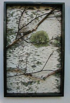 Birch Branch and Bark Wall Hanging Triptych,Original , Rustic,Urban, Chic