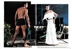 "Elisa Jimenez home-cut lycra top and skirt with unfinished edges. Vogue september 1998. ""Some Nerve"" Ph: Steven Meisel"