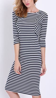 Sometimes all you need is a white/black striped dress to make a statement