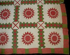 Detail, Antique 1800s Red Green White Sunflower Quilt Lancaster County Pennsylvania Vafo | eBay, valleyforgeantiques