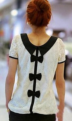 Bow back blouse - white with black bows