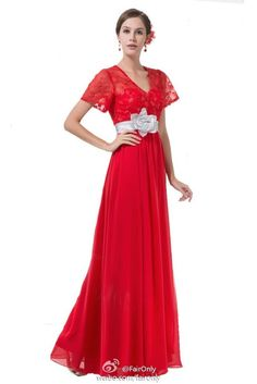 FairOnly Lace Sashes Flower Chiffon Evening Dress Prom Formal Homecoming Gown