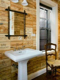 Wall made of wine crates - I've been talking about doing this as a backsplash or feature wall.  LOVE how it looks here!