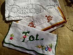 3 Antique 1900's Embroidered Napkin Case  by SophieLadyDeParis, $28.00