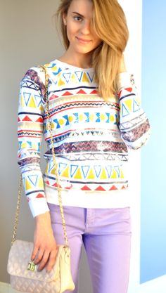 I LOVE THIS. slouchy tribal sweatshirt and pastel skinnies