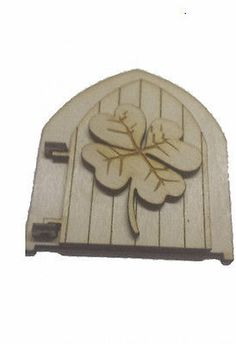 Opening Fairy Door Wooden Birch with engraved Fairy Four Leaf Clover Embelisment Opening Fairy Doors, Elf Door, Four Leaf Clover, Birch, Pixie, Gifts, Stuff To Buy, Collection, Presents