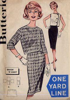 1960s Sheath Skirt / Jacket Pattern - Butterick 9670 - Side Button - One Yard Line - Size 12, $6.95