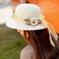 Handmade flower straw hat for girls summer sun hats beach wear