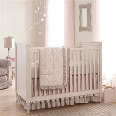 Paris Script Three-piece Crib Bedding Set,,,,$212,,,beautiful with pink or gray walls