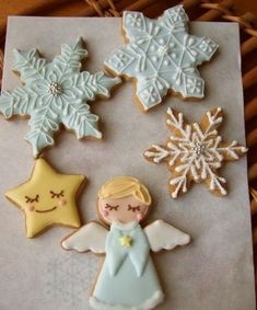 Angel & Snowflakes cookies~                    By grue*press, blue snowflake, yellow, white, winter