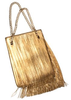 Sparkle Brighter Darling:   Givenchy gold fringe handbag