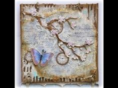 This lady is AMAZING  !  ▶ Mixed Media-Butterfly Wall Hanging - YouTube