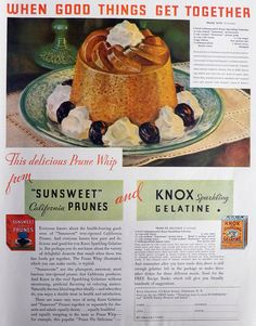 1932 SUnsweet Prunes & Knox Gelatine Ad ~ Prune Whip