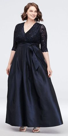 A regal look for the mother of the bride or groom, this plus-size ball gown shimmers with a floral lace bodice and a lustrous taffeta skirt. A waistline bow and side pockets provide perfect Mob Dresses, Necklines For Dresses, Bridesmaid Dresses, Dresses With Sleeves, Formal Dresses, Lounge Dresses, Peplum Dresses, Dress Tops, Linen Dresses