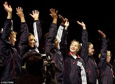 A member of the 2000 U.S. women's Olympic gymnastics team has claimed she was sexually abused by team doctor Larry G. Nassar. The team pictured from left to right: Amy Chow, Jamie Dantzscher, Dominique Dawes, Kristen Maloney, Elise Ray and Morgan White