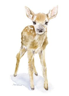 Deer Fawn 2 watercolor giclée reproduction. Portrait/vertical orientation. Printed on fine art paper using archival pigment inks. This quality printing allows over 100 years of vivid color in a typica