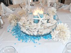 Image result for table centerpieces for beach wedding