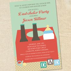 Dad-chelor Party Invitations for Beer & Diaper Parties or a Shower for the Father-to-be by Sweet Wishes Stationery