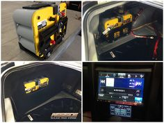 """To power the this massive car audio set up in this Holden VE SV6 Commodore, we used two Optima D34 yellow top batteries with a custom bracket positioned in the factory battery location.  We installed: • Alpine INE-Z928 8"""" Multimedia Station • Hertz HSK-165 Front Component Speakers • Hertz HCX-165 Rear Coaxial Speakers  • Hertz HDP4 Four Channel Amplifier powering the front and rear speakers • Four Hertz HDP1 Mono Amplifiers powering four Alpine SWR-12D4 12"""" Subwoofers"""
