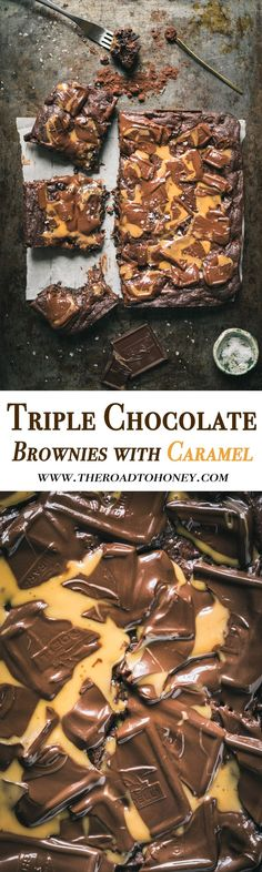 These homemade Triple Chocolate Fudgy Brownies with Caramel are the best brownies from scratch you will ever tease your taste buds with. They're made with cocoa and are fudgy, moist, and gooey. And the best news is, while they look impressive, they are so easy to make. Click for recipe. #BrownieRecipe #EasyBrownies #BrowniesFromScratch #FudgyBrownies