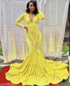 Yellow Sheer V-neck Long Sleeve Mermaid Prom Dress Slip into this yellow sheer mermaid prom dress for a stylish look. Crafted in geometrical sequin, this distinguished gown features alluring V neckline, long sleeves, and pretty chapel train. Prom Dresses Slay, Black Girl Prom Dresses, African Prom Dresses, Senior Prom Dresses, Pretty Prom Dresses, Prom Outfits, Dresses Short, Prom Dresses With Sleeves, Dressy Dresses