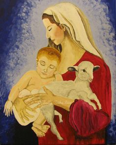 """Mother Mary & Baby Jesus  11"""" x 14"""" Acrylic stretched canvas $235.00  http://sallytiskarice.com/STR/Welcome.html"""