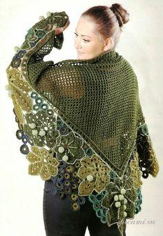 Crochet Patterns Lace basic triangular shawl with free-form irish crochet lace motifs Poncho Crochet, Mode Crochet, Crochet Shawls And Wraps, Freeform Crochet, Knitted Shawls, Crochet Scarves, Irish Crochet, Crochet Yarn, Crochet Clothes