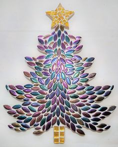 Before Christmas, Christmas Holidays, Holiday Tree, Christmas Tree, Christmas Mosaics, Garden Mosaics, Unique Gifts, Handmade Gifts, Gold Glass