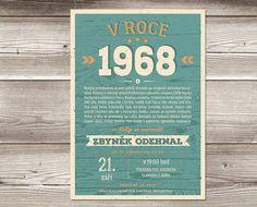 Retro narozeninová pozvánka 1968 barva tyrkysová