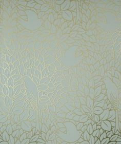 Dovedale Wallpaper Stylized bird sihouettes in gold on a duck egg background