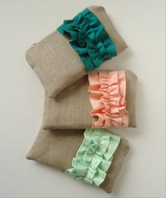 Mint and peach burlap