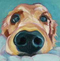 Puppy Nose Original Oil Painting by BarkingDogCreations on Etsy, $45.00