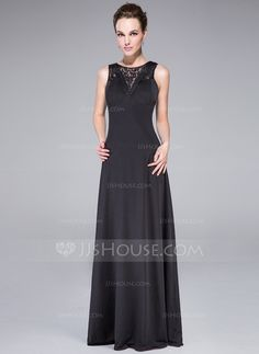 Corte A/Princesa Escote redondo Hasta el suelo Jersey Vestido de noche con Volantes (017042658)