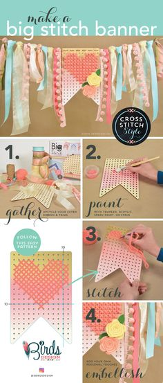 Create a custom big stitch banner in a few simple steps! Via3 Birds Design.
