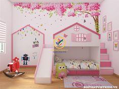 Giường tầng cầu trượt - giường tầng trẻ em 2 tầng