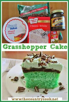 Grasshopper Cake recipe from The Country Cook. Chocolate and Mint are two of my favorite flavor combos and it really shines in this cake.