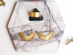 Fan Earrings | Dangle Earrings | Gold Plated Earrings | Hoop Earrings | Everyday Jewelry | Minimalist Earrings | Statement Earrings Gold Plated Earrings, Gemstone Earrings, Dangle Earrings, Birthday Gifts For Her, Minimalist Earrings, Gold Pearl, Pearl Jewelry, Jewelry Collection, Dangles