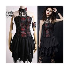 Black and Red Embroidered Asymmetrical Goth Fashion Dress + Wristband... ($730) ❤ liked on Polyvore featuring dresses, goth dresses, gothic clothing dresses, gothic lolita dress, red and black gothic dress and broderie dress