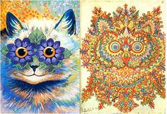 The stages of an LSD trip: Louis Wain's skitzophrenic cat drawings