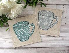 Mug Coasters, Fabric Coasters, Small Gift Idea, Modern Decor, Housewarming Gift, Drink Coasters, Coffee Coasters, Hostess Gift, Mug Rugs