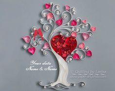 Arte de la pared del encañonado Quilling amor árbol encañonado papel bodas de arte el árbol del amor familiar enmarcado artesanal decoración diseño regalo