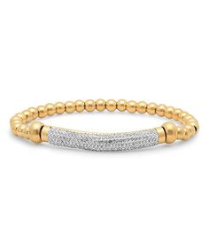 Crystal & Gold Beaded Pavé-Set Stretch Bracelet
