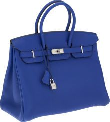 Luxury Accessories:Bags, Hermes 35cm Blue Electric Clemence Leather Birkin Bag withPalladium Hardware. ...