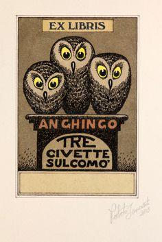 Owl Ex Libris Roberto Innocenti Ex Libris, Locuciones Latinas, Library Posters, Conversational Prints, Vintage Owl, Animal Totems, Owl Art, Textile Prints, Printmaking