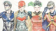 DC comics.  Nightwing, Red Hood, Robin, Red Robin