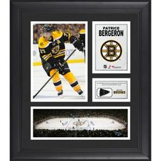 Patrice Bergeron Boston Bruins Framed 15'' x 17'' Collage with Piece of Game-Used Puck