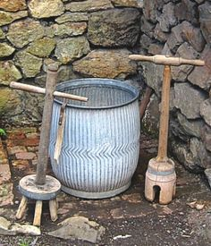 Vintage Dolly Tub, Dolly Stick, & Plunger Used in the United Kingdom and Northern Europe to Wash Large Items